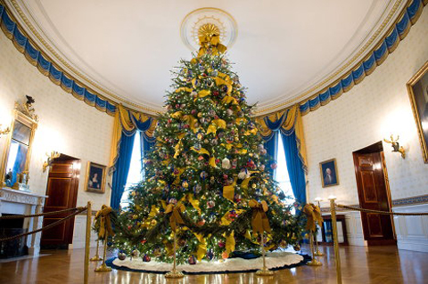 Since 1961, the principal White House Christmas tree has been placed in the center of the room.