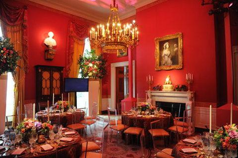 The Red Room has served as a parlor and music room, and recent presidents have held small dinner parties in it. It has been traditionally decorated in shades of red.