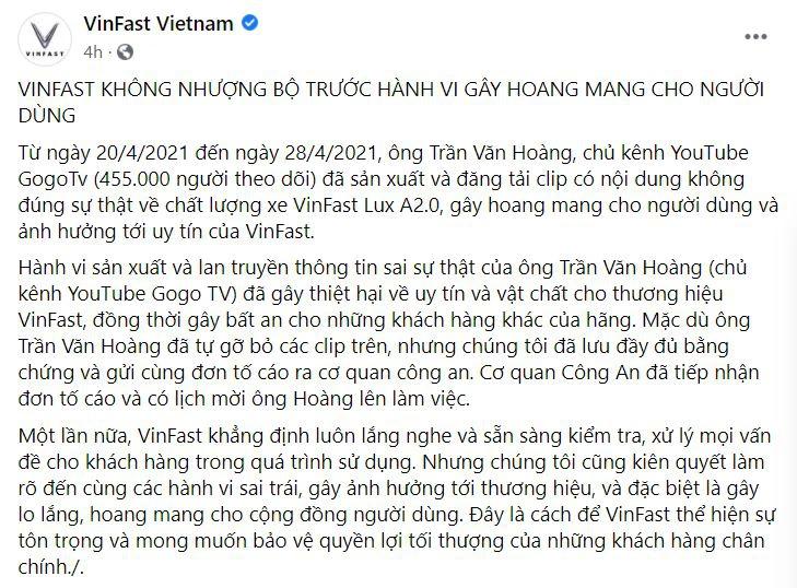 vinfast-lên-tiếng-viec-nguoi-dung-to-xe-vinfast-bi-loi-chu-kenh-co-nguy-co-hau-toa