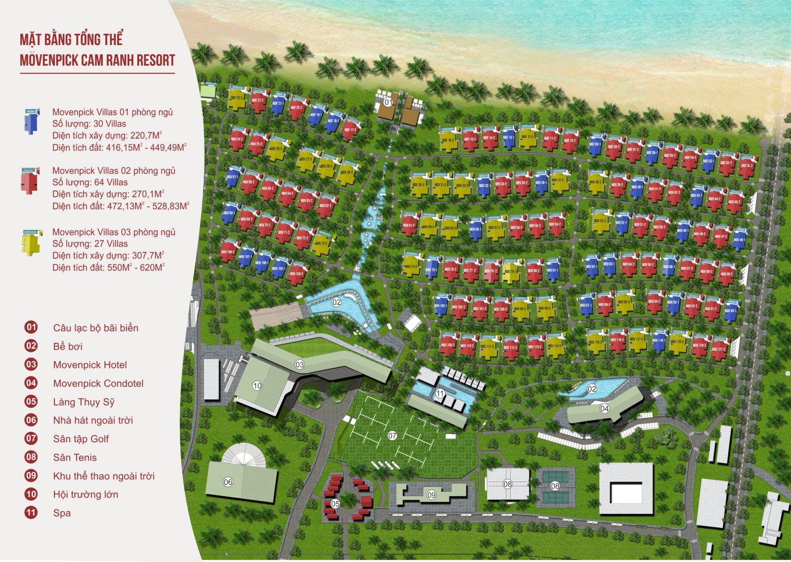 Mặt bằng dự án Mövenpick Cam Ranh Resort