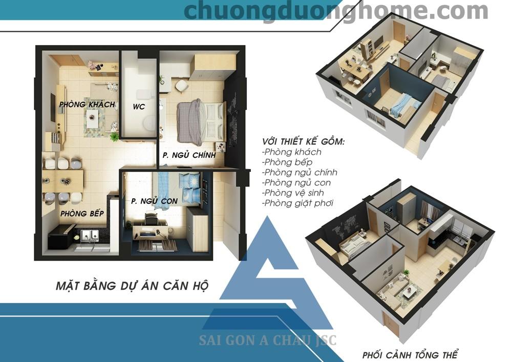 Thiết kế căn hộ 2 phòng ngủ 50m2 - 51m2