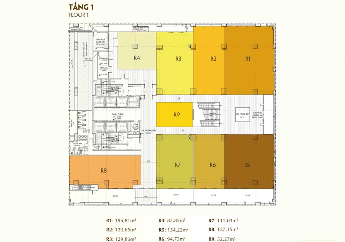Mặt bằng tầng điển hình dự án golden king quận 7