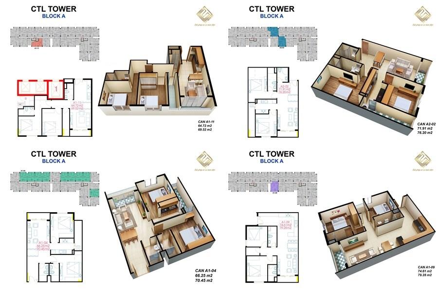 Mặt bằng căn hộ điển hình dự án CTL Tower quận 12