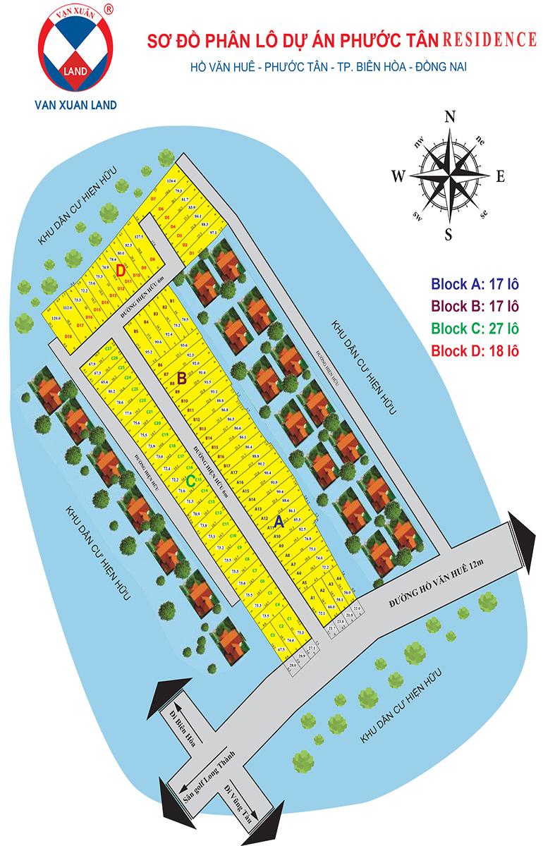 Sơ đồ phân lô dự án đất nền phước tân residence đồng nai