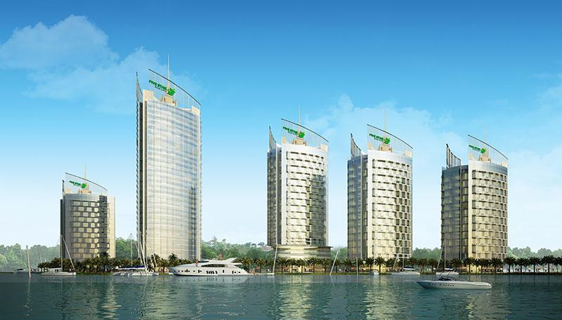 Phối cảnh 5 tòa tháp thung tâm tài chính – thương mại của dự án Five Star Eco City
