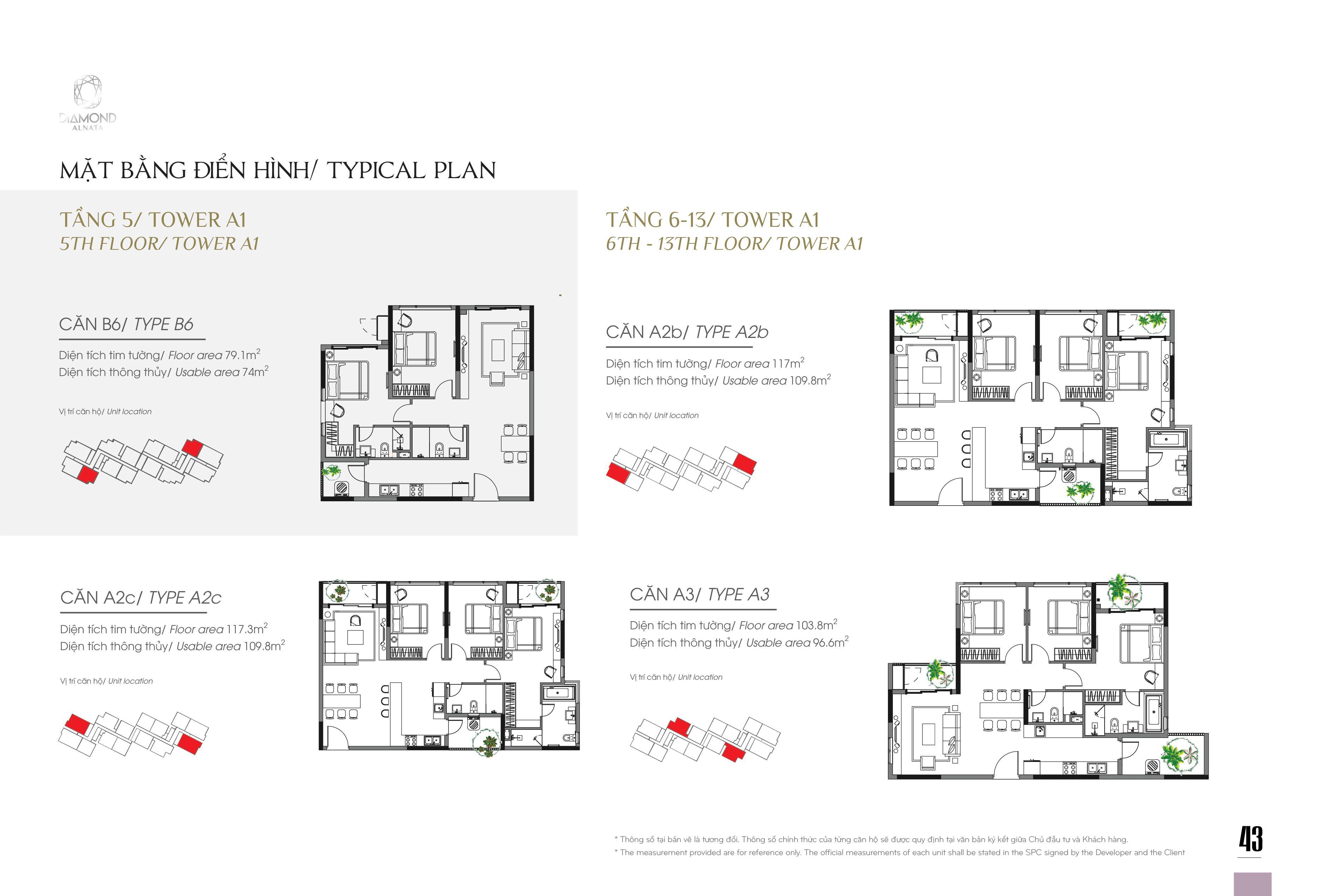 Mặt bằng các căn hộ điển hình tầng 5 – 13 khu căn hộ Diamond Alnata Tân Phú