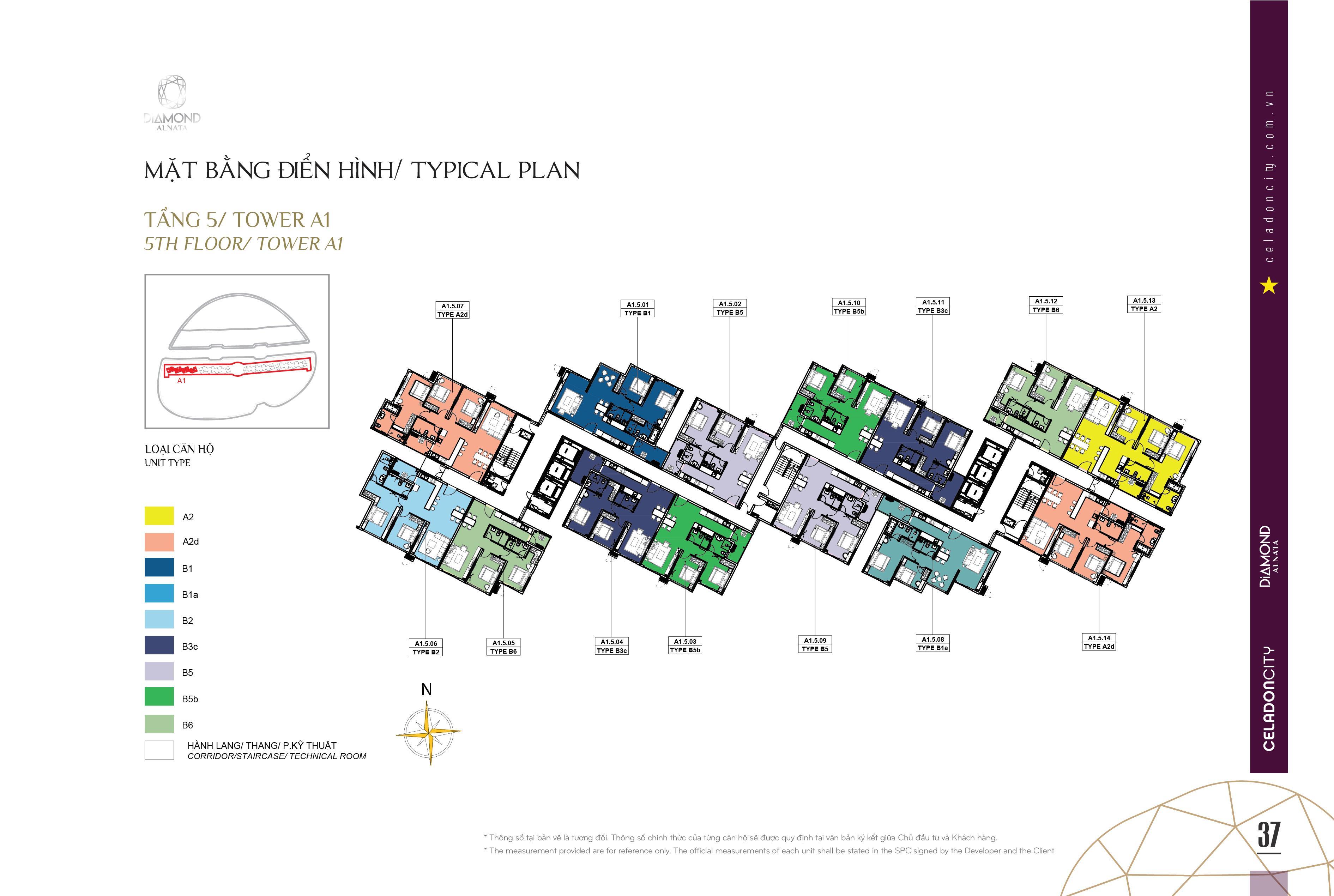 Mặt bằng tầng điển hình (tầng 5) tháp A1 dự án Diamond Alnata Tân Phú