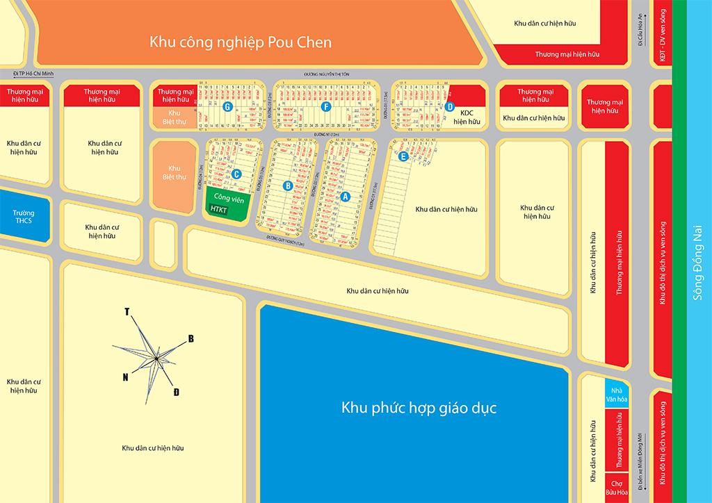 Bản đồ dự án Bien Hoa New Town 2 Đồng Nai