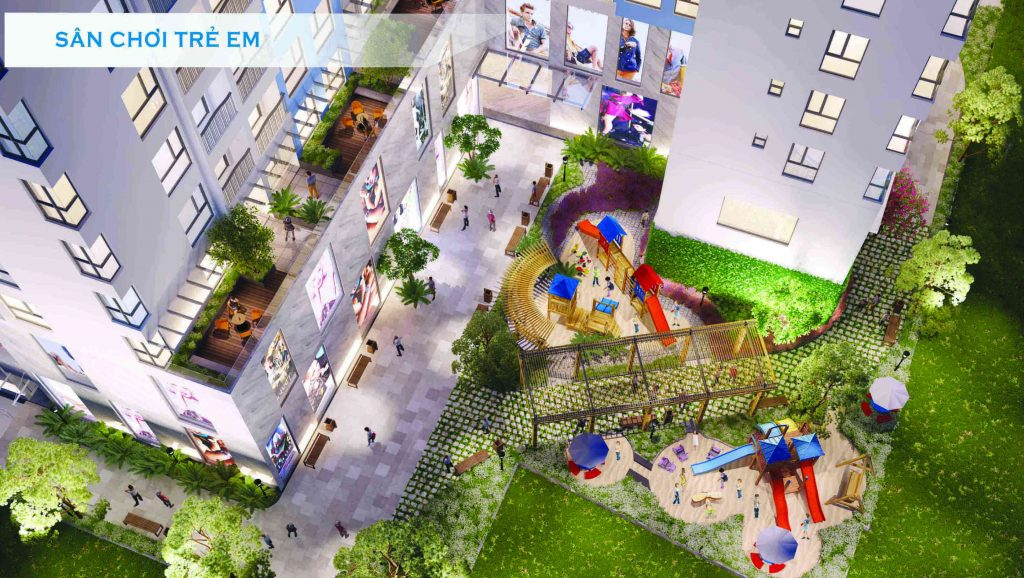 Phối cảnh sân chơi dành cho trẻ em dưới tầng trệt tại chung cư Ventosa quận 5