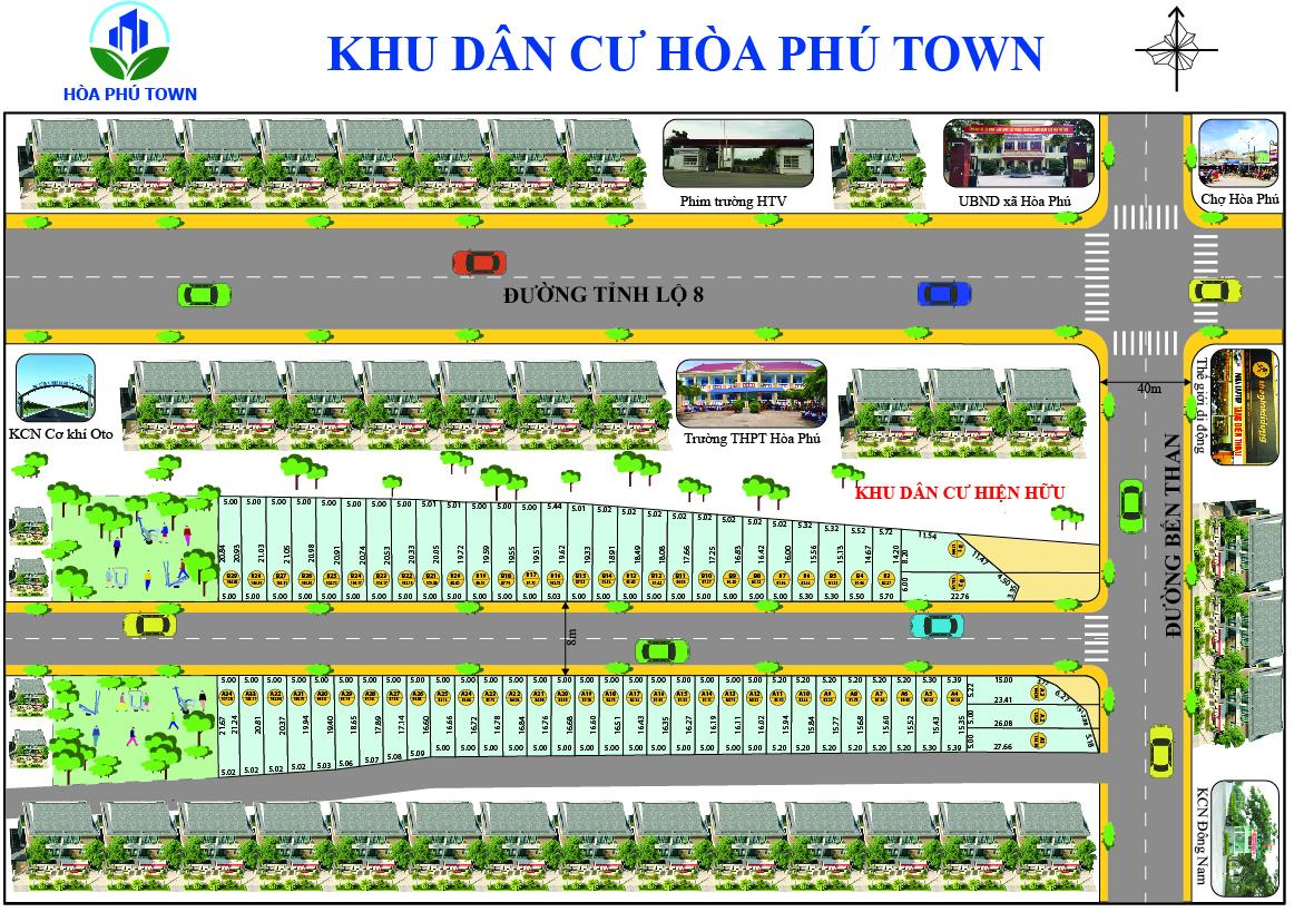 Mặt bằng tổng thể khu dân cư Hòa Phú Town Củ Chi