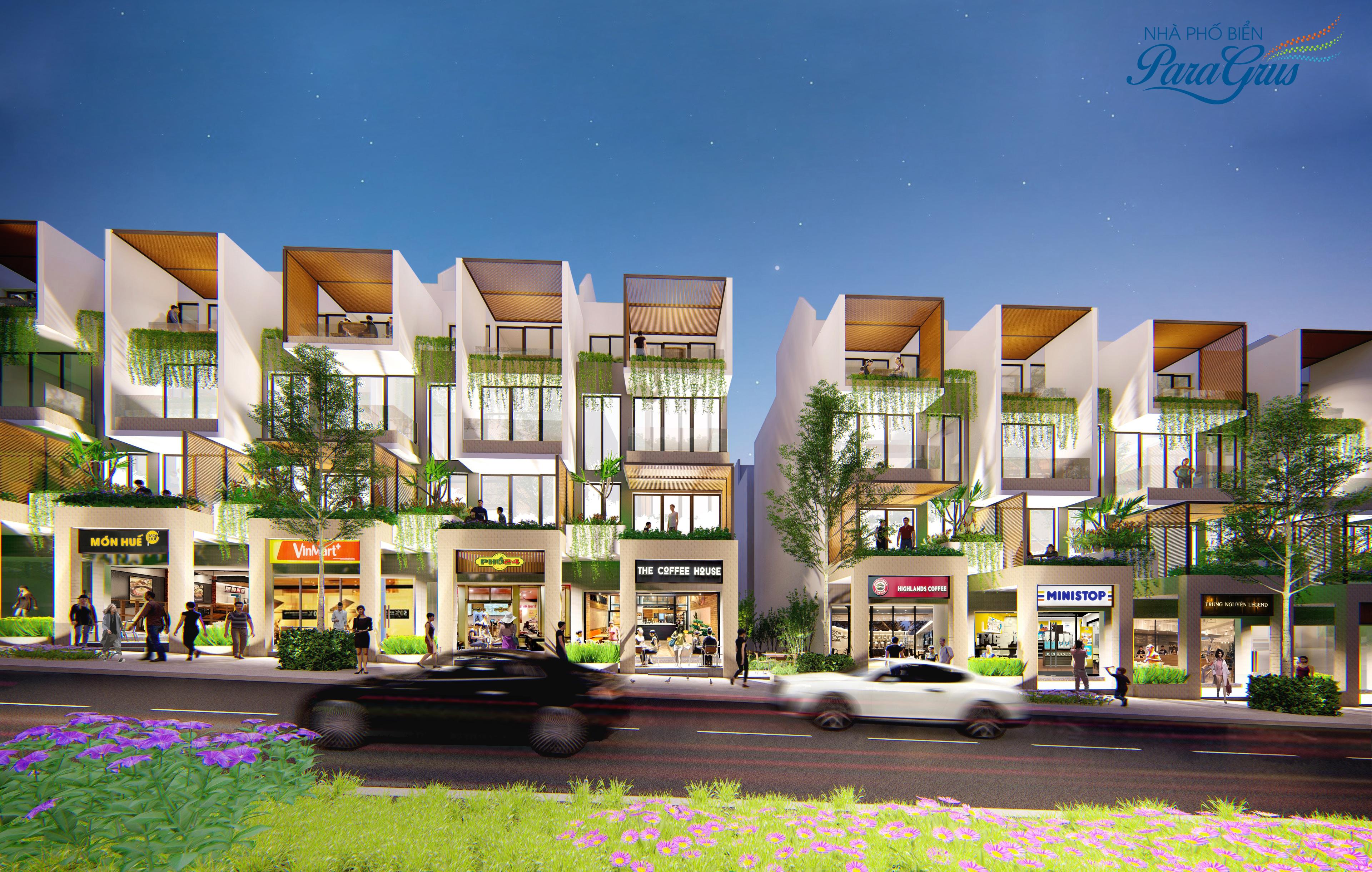 Phối cảnh các căn nhà phố ParaGrus thuộc dự án KN Paradise Cam Ranh tỉnh Khánh Hòa