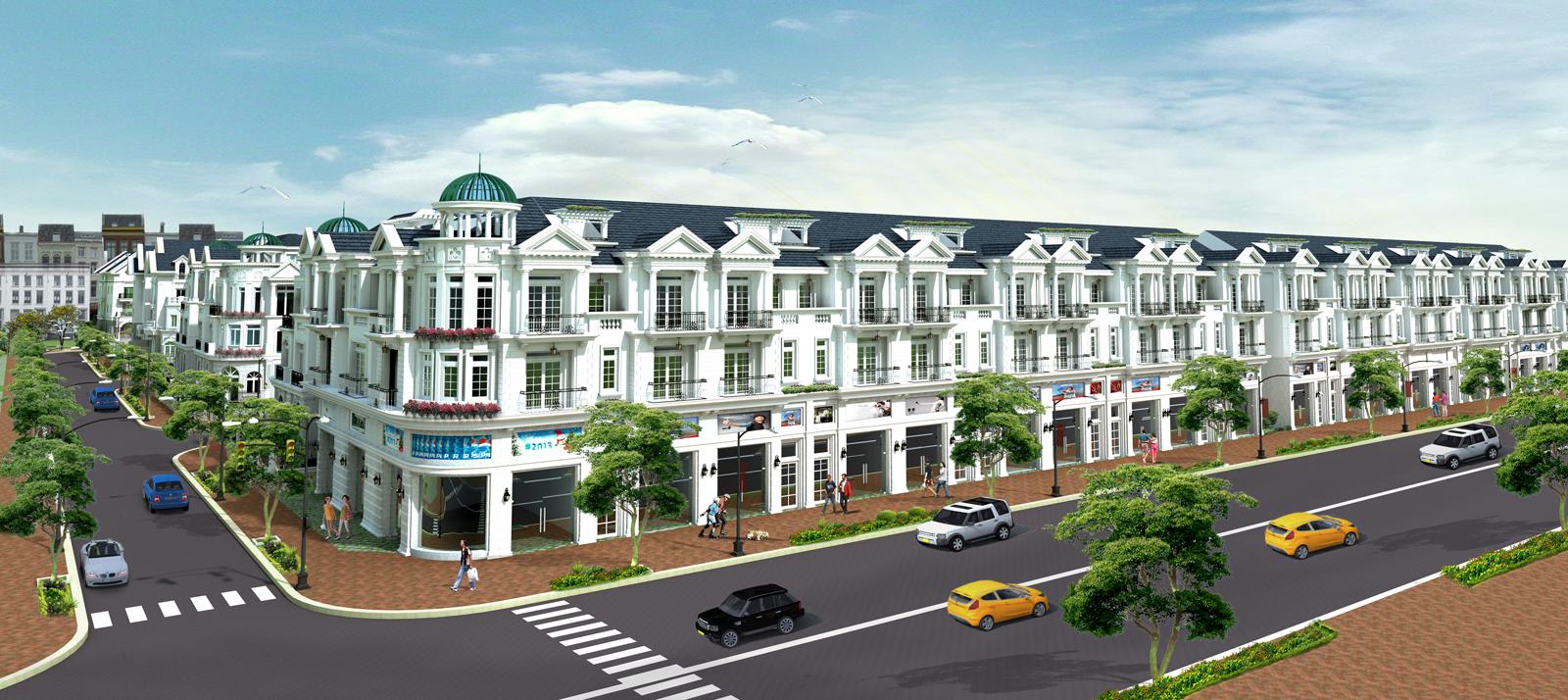 Phối cảnh dãy biệt thự tại khu dân cư Long Phú Residence Long An