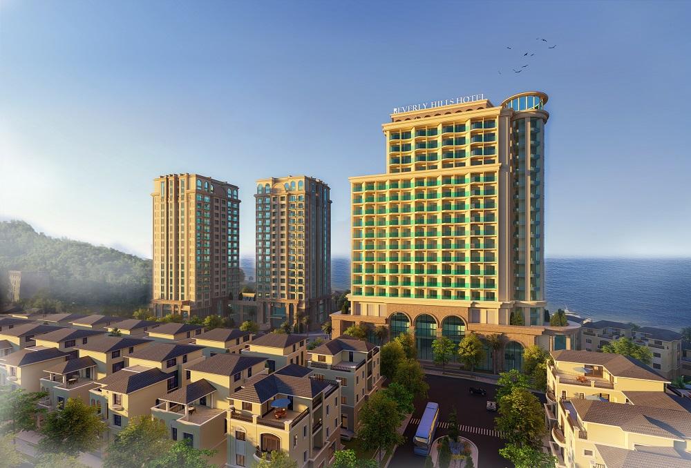 Phối cảnh các căn nhà phố liền kề và tòa tháp khách sạn tại dự án Beverly Hills Hạ Long