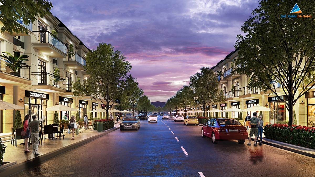 Phối cảnh dãy nhà phố tại dự án Tăng Long Angkora Quảng Ngãi