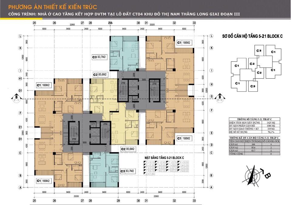 Mặt bằng tầng 5 – 21 tháp C tại chung cư Udic Westlake Tây Hồ