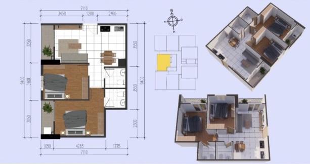 Mặt bằng căn hộ điển hình có diện tích thông thủy 58,55m2 tại chung cư Tecco Tower Bình Dương