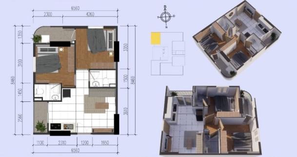 Mặt bằng căn hộ điển hình có diện tích thông thủy 50,55m2 tại chung cư Tecco Tower Bình Dương