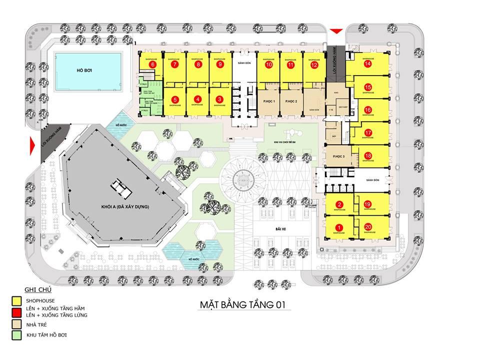 Mặt bằng tầng điển hình (tầng 1) tòa B3 dự án căn hộ Monarchy Đà Nẵng