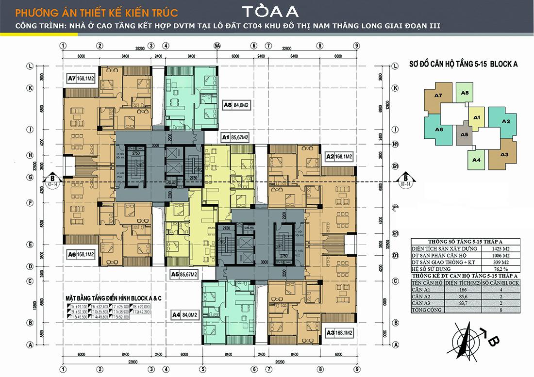 Mặt bằng tầng 5 – 15 tháp A tại căn hộ Udic Westlake Tây Hồ