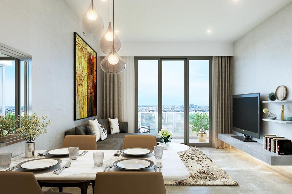 Phòng khách tại nhà mẫu chung cư ST City Hóc Môn