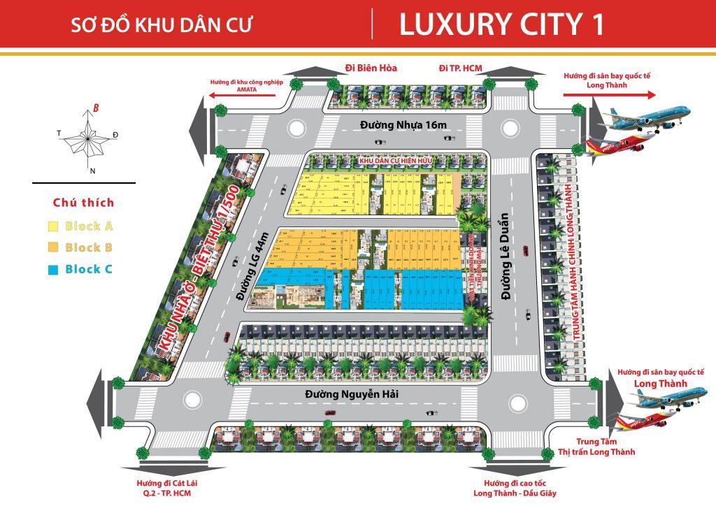 Mặt bằng phân lô khu dân cư Luxury City Đồng Nai