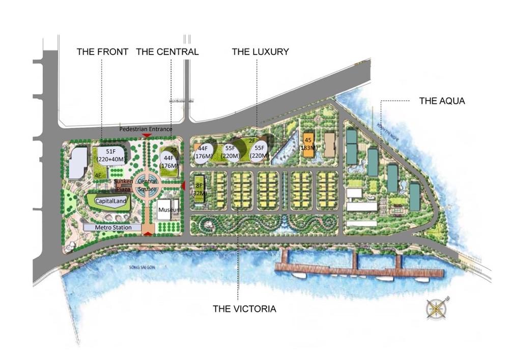Mặt bằng tổng thể khu phức hợp The Centennial Ba Son quận 1