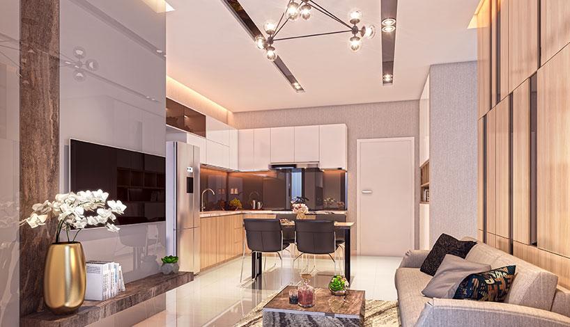 Phòng khách tại nhà mẫu dự án Asiana Capella quận 6