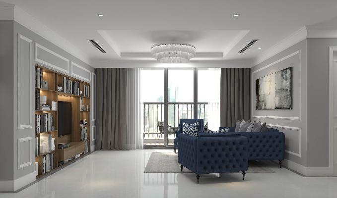 Phòng khách tại nhà mẫu dự án Hateco La Roma Hà Nội