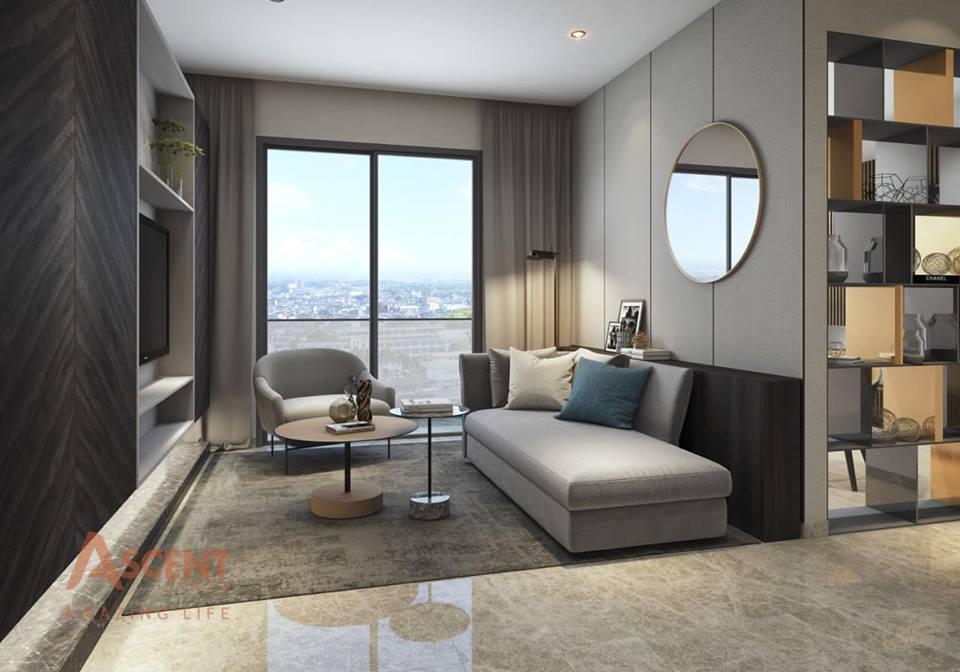 Phòng khách tại nhà mẫu dự án Ascent Plaza quận Bình Thạnh