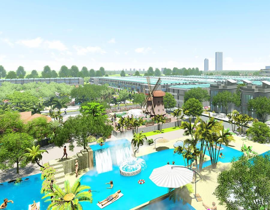 Phối cảnh hồ bơi khoáng mặn rộng 5.300m2 tại dự án đất nền Seaway Bình Châu
