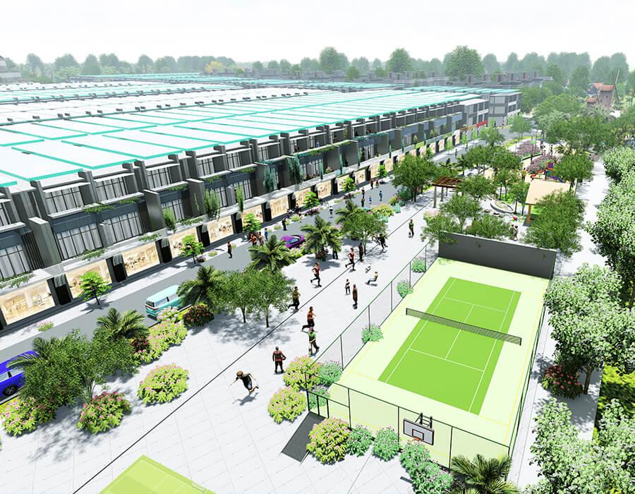 Phối cảnh sân tennis và khu vui chơi dành cho trẻ em rộng 5.120m2 tại Seaway Bình Châu