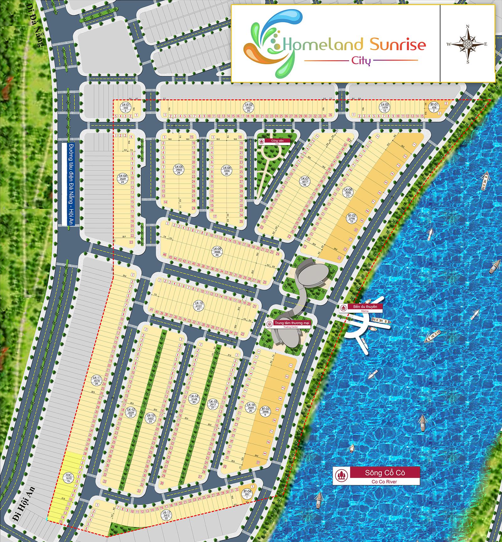 Mặt bằng dự án đất nền Homeland Sunrise City Quảng Nam