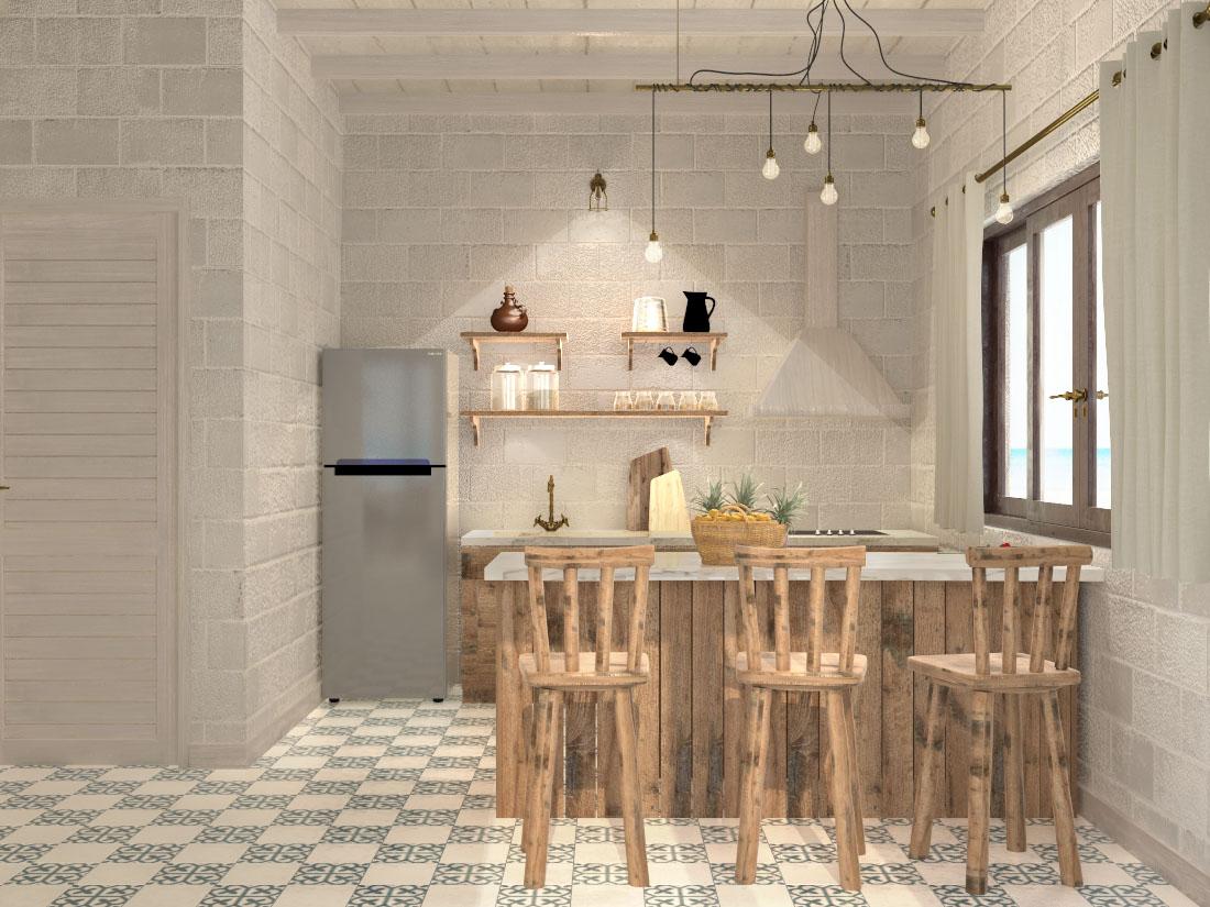 Phòng bếp tại nhà mẫu dự án khu biệt thự Perolas Villa tỉnh Bình Thuận