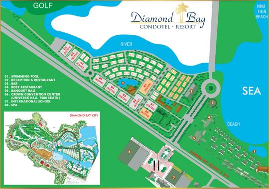 Mặt bằng tổng thể dự án nghỉ dưỡng Diamond Bay Condotel Resort Nha Trang