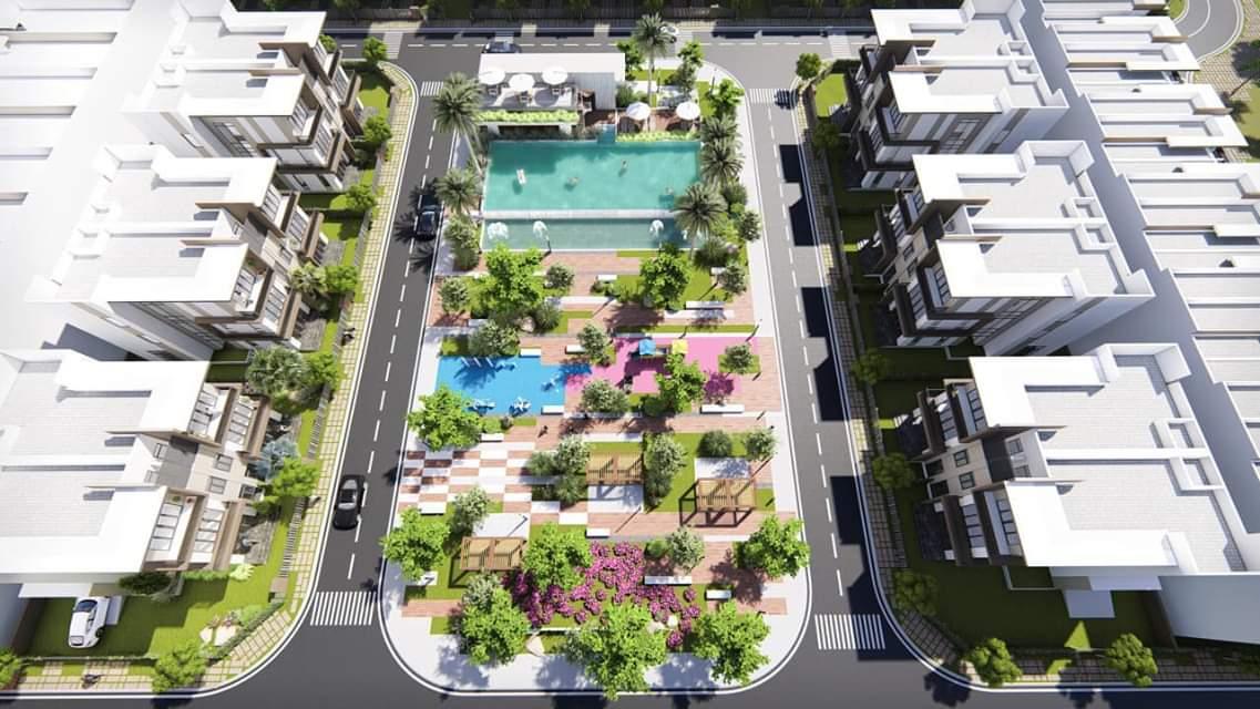 Phối cảnh khu hồ bơi, vui chơi và thể dục thể thao dành cho cư dân tại Pax Residence