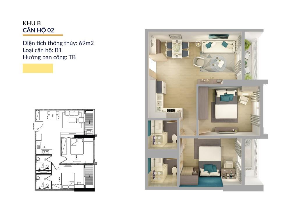 Mặt bằng căn hộ 02 khu B trong dự án chung cư Athena Complex tại Hà Nội