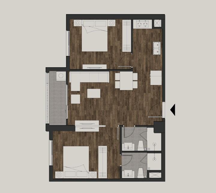 Mặt bằng căn condotel 2 phòng ngủ Silver Lotus Premier rộng 63,86m2 tại Mandala Luxury Apartment