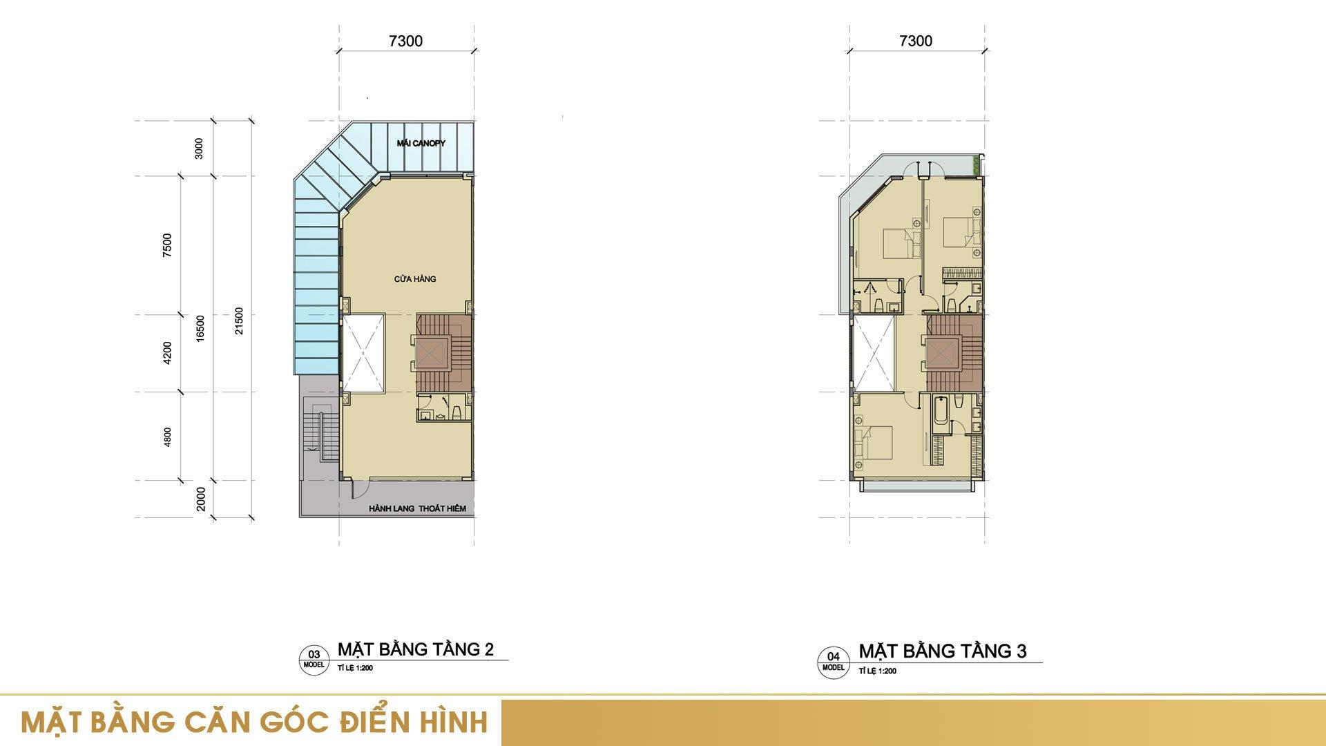 Mặt bằng tầng 2 và tầng 3 căn góc điển hình tại khu nhà phố Sari Town