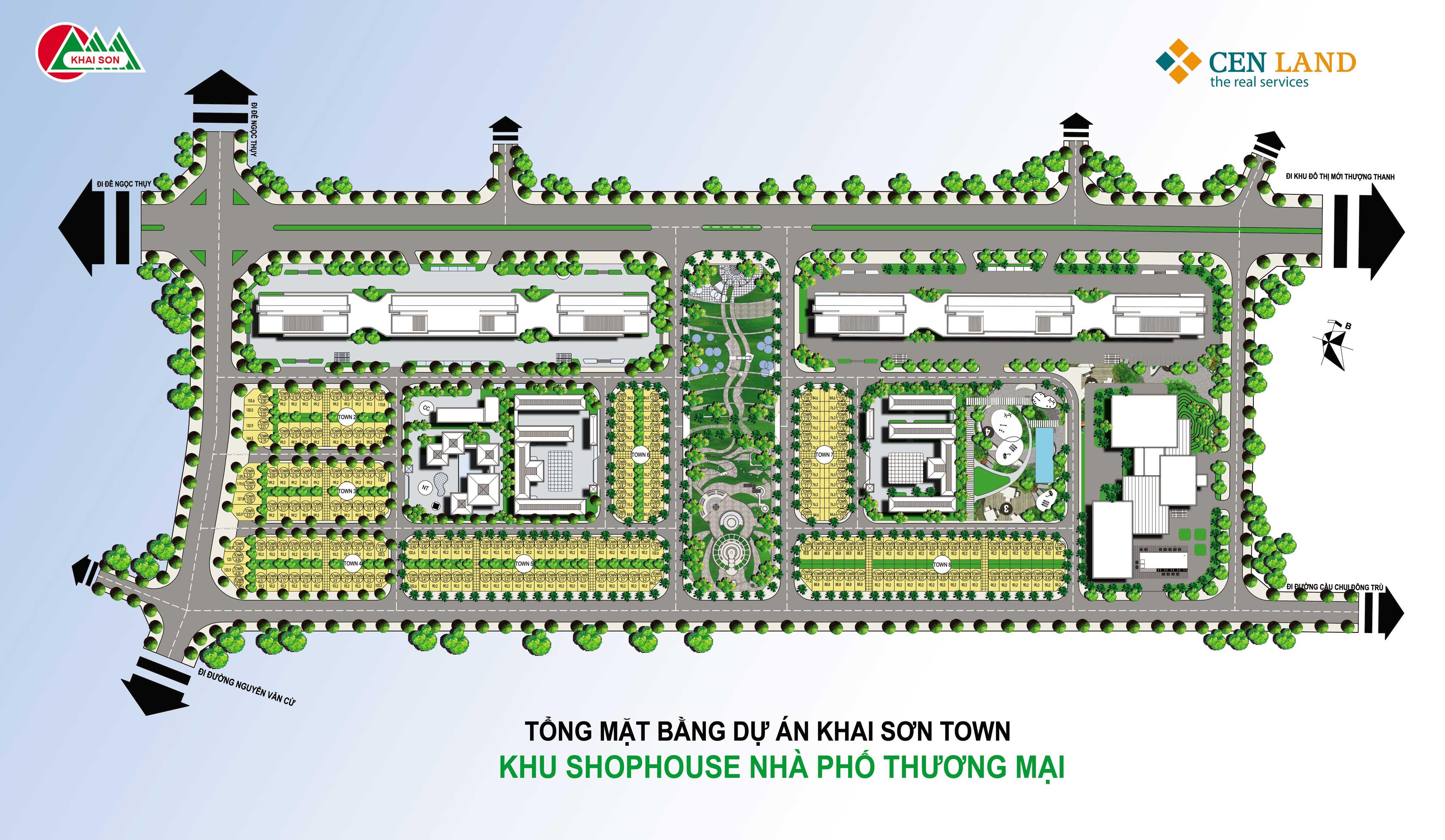 Mặt bằng tổng thể dự án nhà phố thương mại Khai Son Town
