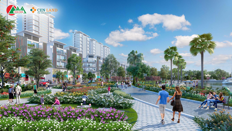 Phối cảnh công viên nội khu dự án nhà phố thương mại Khai Son Town tại quận Long Biên, Hà Nội