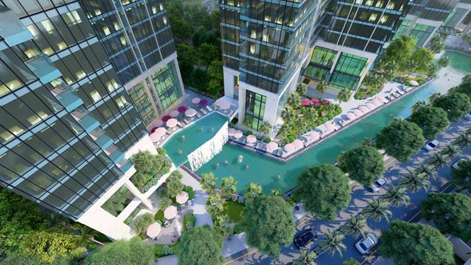 Phối cảnh hồ bơi tại căn hộ Sunshine City Sài Gòn quận 7