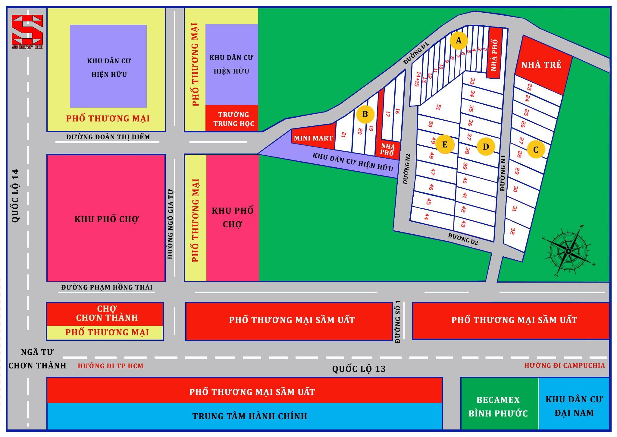 Mặt bằng phân lô dự án Sky Center City II tỉnh Bình Phước