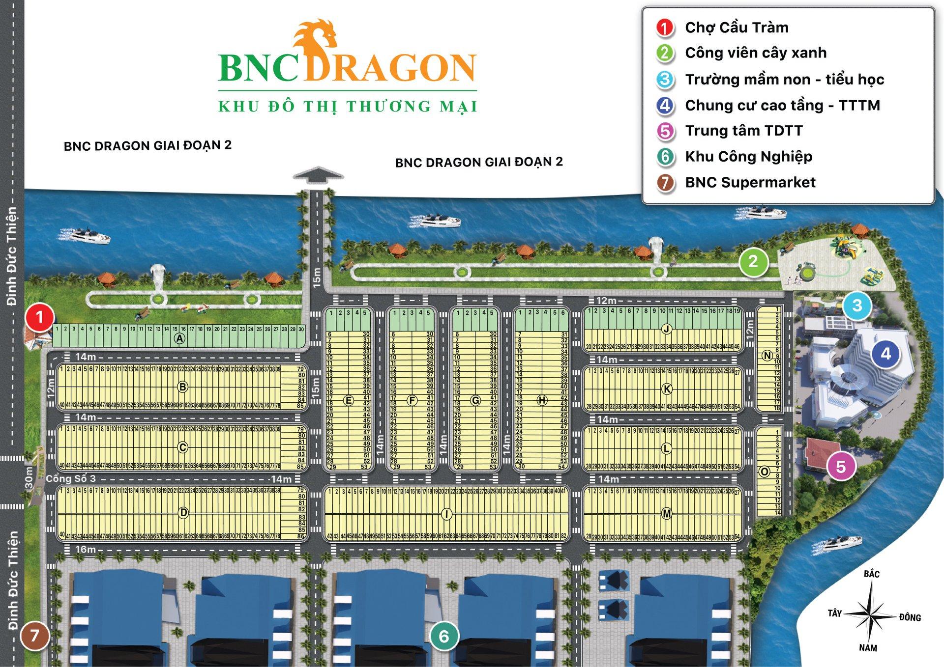 Mặt bằng phân lô dự án khu dân cư BNC Dragon tỉnh Long An