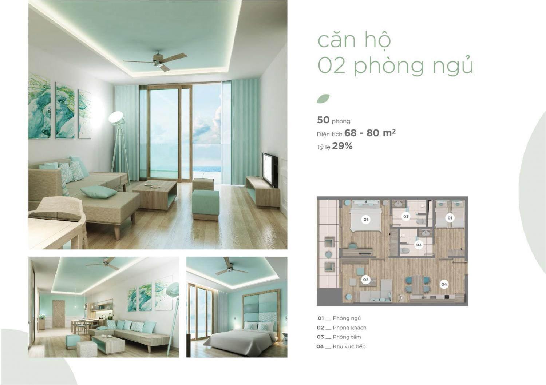 Mặt bằng căn hộ 2 phòng ngủ điển hình tại Fusion Suites
