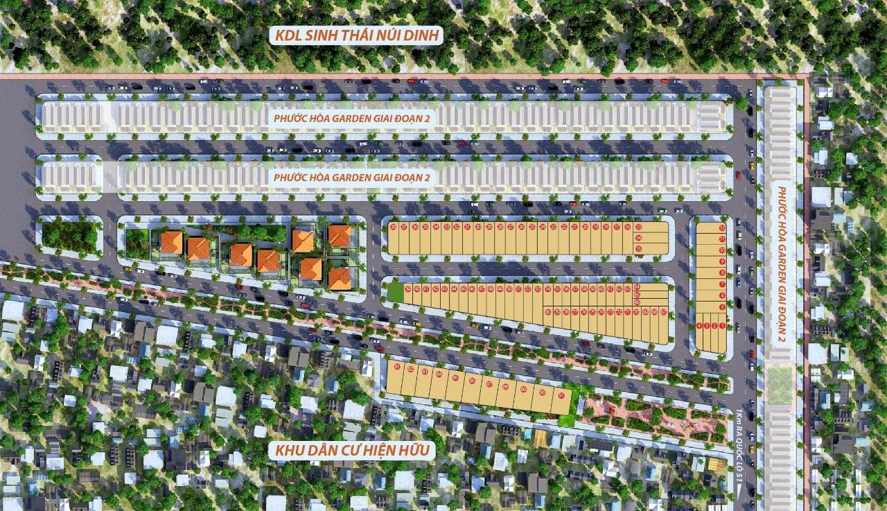 Mặt bằng phân lô dự án khu dân cư Phước Hòa Garden