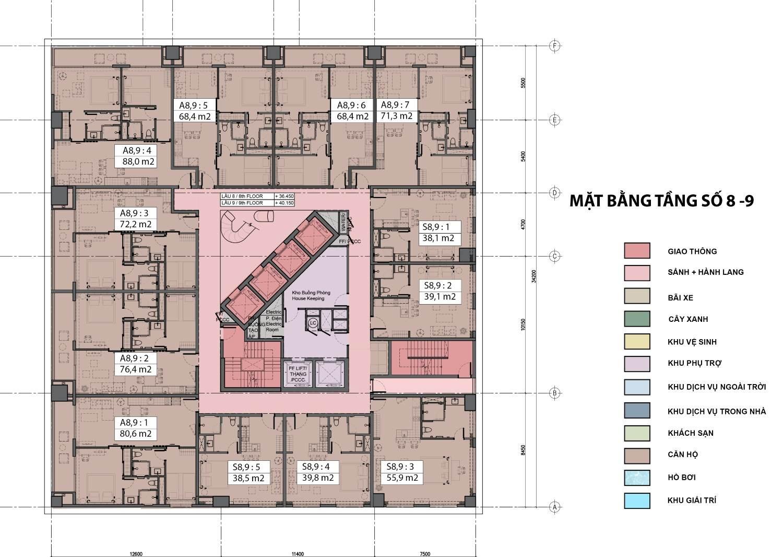 Mặt bằng tầng điển hình (tầng 8 - 9) dự án Fusion Suites