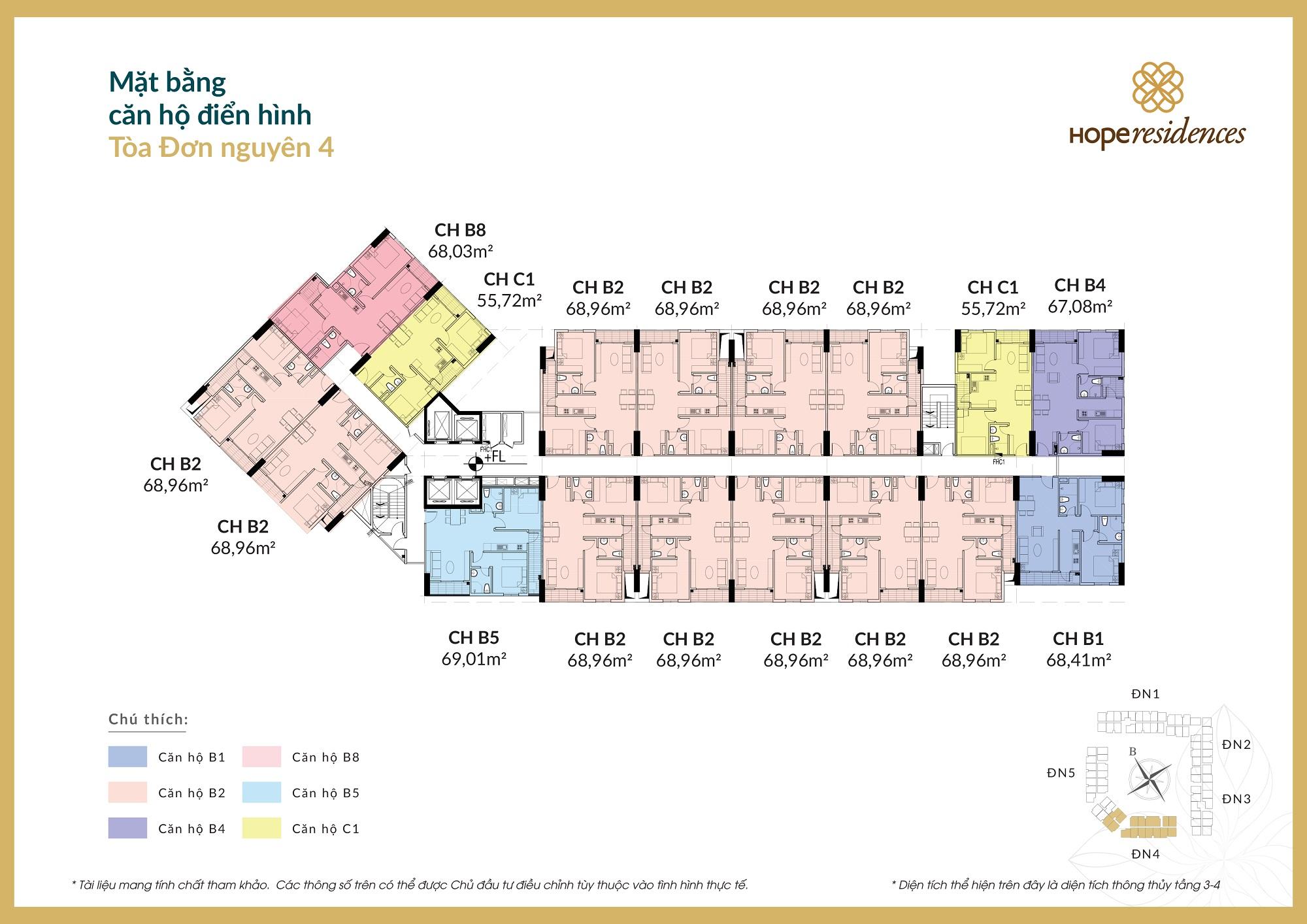 Mặt bằng tầng điển hình đơn nguyên 4 dự án căn hộ Hope Residences Long Biên
