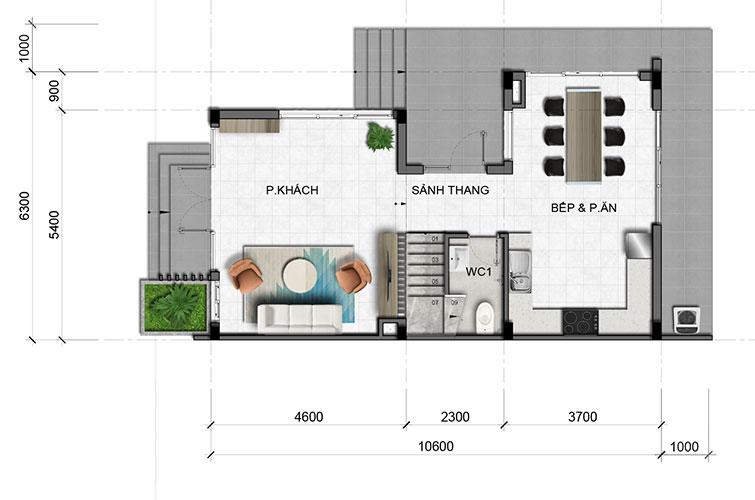 Mặt bằng tầng điển hình (tầng trệt) căn biệt thự tại dự án Văn Hoa tỉnh Đồng Nai
