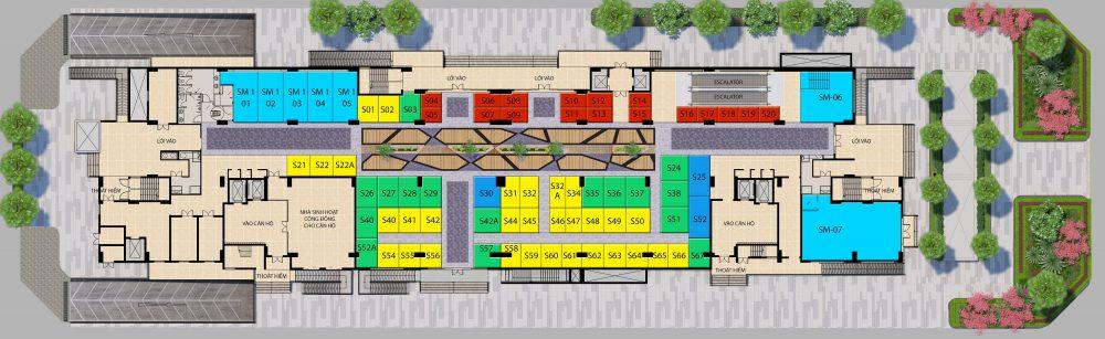 Mặt bằng tầng điển hình (tầng trệt) dự án Saigon Metro Mall quận 8