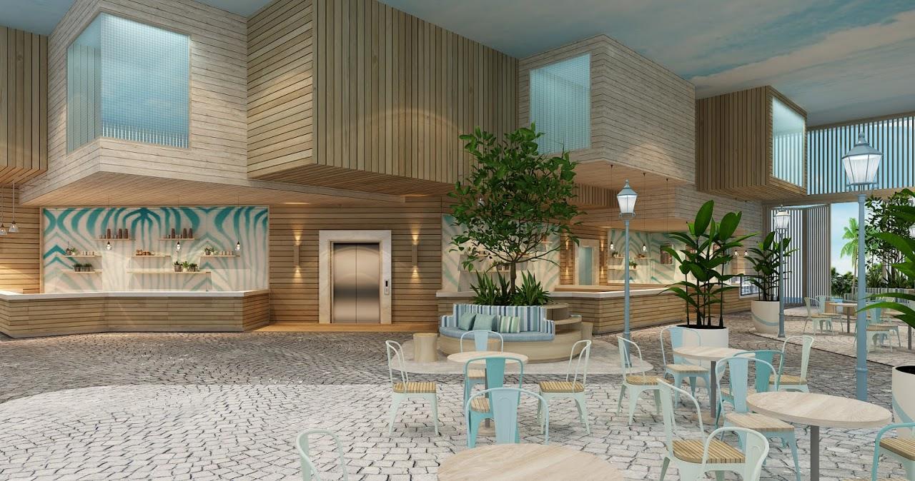 Phối cảnh khu ăn uống và quầy bar tại dự án Fusion Suites